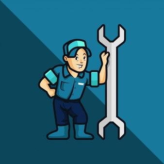Klempner, mechaniker, handwerker, cartoon style illustration. handwerker, mechaniker oder klempner lehnen sich auf einen großen schraubenschlüssel zurück