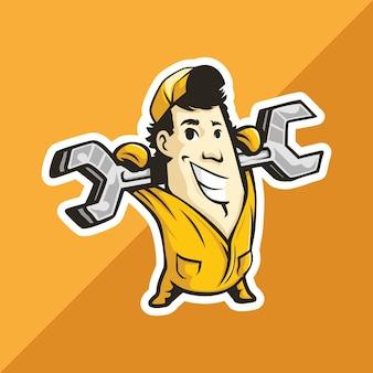 Klempner mechaniker mann trägt einen schraubenschlüssel an der hand. maskottchen für logo