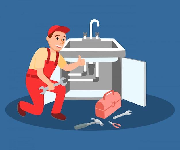 Klempner-meister mit dem schlüssel, der küchenhahn befestigt