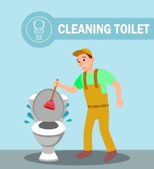 Klempner mit kolbenreparatur verstopfte toilettenschüssel