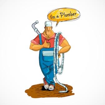 Klempner mit wasserleitung und schlauch