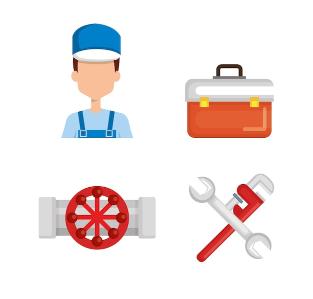 Klempner mit werkzeugsatz