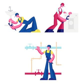 Klempner rufen master repair service set isoliert auf weißem hintergrund. karikatur flache illustration