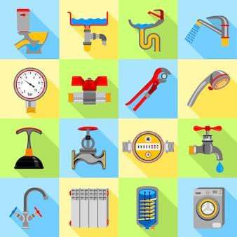 Klempner symbole icons set.