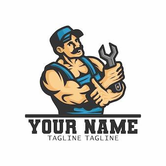 Klempner trägt einen schraubenschlüssel an der hand. logo. illustration