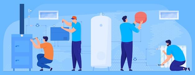 Klempnerarbeiten. reparatur von heizsystem, kessel, heizbatterien, kessel. illustration
