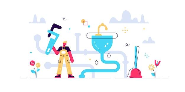 Klempnerberuf. flaches winziges wasserhahnreparaturpersonenkonzept. bauarbeiten mit wartung der wasserleitung und leckage. abstraktes haus sanitärspüle mechaniker job.