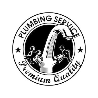 Klempnerdienststempelvektorillustration. wasserhahn und text in premiumqualität mit sternen. sanitär-konzept-logo