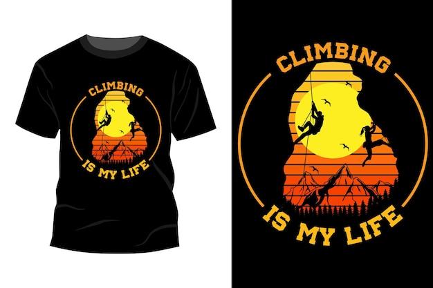 Klettern ist mein leben t-shirt design vintage retro