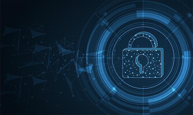 Klick auf das display mit netzwerk und vorhängeschloss cyber security datenschutz business