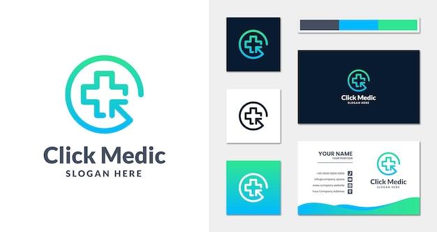 Klicken sie auf das medizinische logo mit linearem stil und visitenkartenvorlage