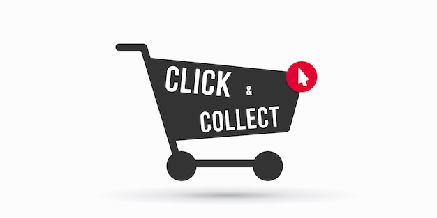 Klicken sie auf und sammeln sie die abbildung des einkaufswagenzeichens