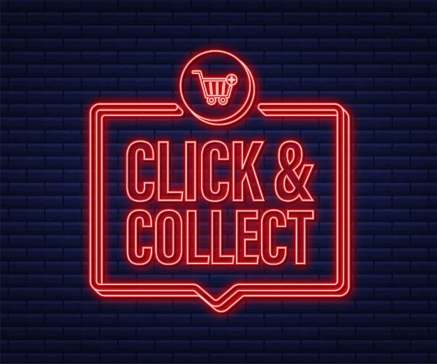 Klicken sie auf und sammeln sie neon-banner. flacher stil. website-vektor-symbol. vektorgrafik auf lager.