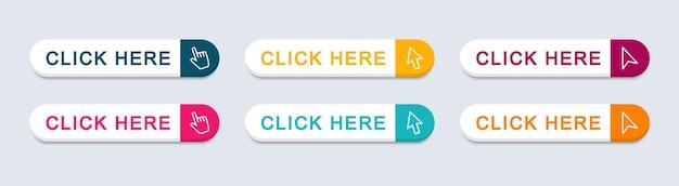 Klicken sie hier web-buttons. aktionsschaltfläche klicken sie hier mit dem pfeilzeiger. vektor-illustration.