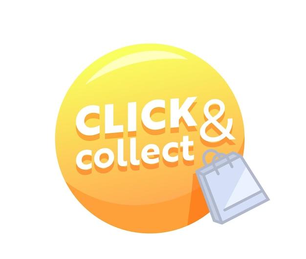 Klicken und sammeln sie gelbe blase mit einkaufstasche für online-kauf oder verkaufsförderung im internet. fernbestellservice für waren. internet-kauftaste für mobile app. vektorillustration