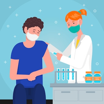 Klient, der einen impfstoff gegen das virus nimmt