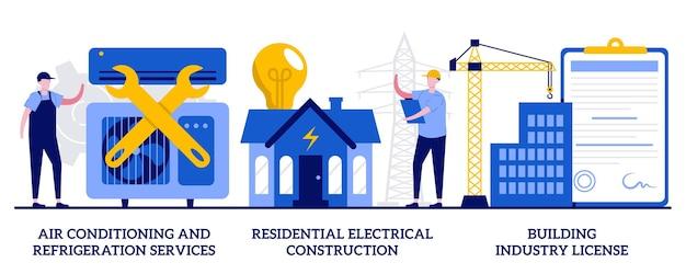 Klima- und kältedienstleistungen, wohn-elektrobau, baugewerbe-lizenzkonzept mit winzigen leuten. bauunternehmer dienstleistungen abstrakte vektor-illustration-set.