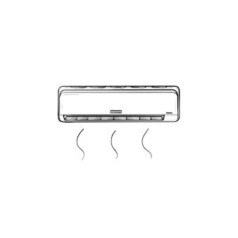 Klimaanlage handgezeichnete umriss-doodle-symbol. kühlende klimaanlage vektor skizzenillustration für print, web, mobile und infografiken isoliert auf weißem hintergrund.