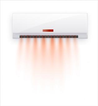 Klimaanlage mit heißer luft isoliert. weiße klimaanlage lokalisiert auf klarem hintergrund im stil. illustration über elektrische ausrüstung im haus.