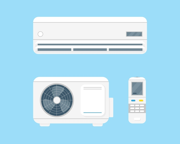 Klimaanlage stellte vecorillustration auf blauem hintergrund ein. klimaanlage und fernbedienung.