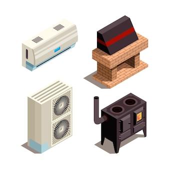 Klimaanlagen. kühlung heizgeneratoren kompressor druckrohr isometrische sammlung