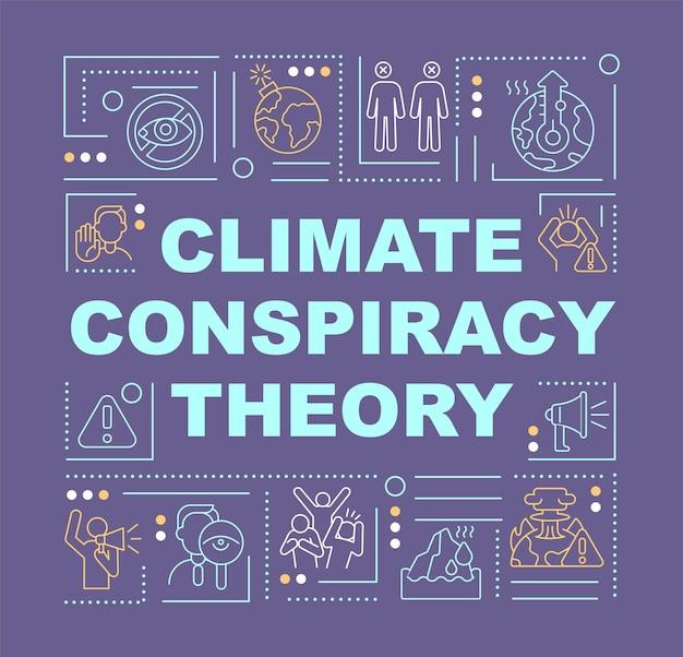 Klimaverschwörungstheorie und grünes banner für betrugswortkonzepte. infografiken mit linearen symbolen auf lila hintergrund. isolierte kreative typografie. vektorumriss-farbillustration mit text