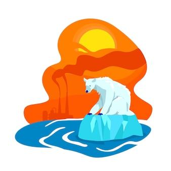 Klimawandel 2d web-banner, poster. werksemission. aussterben der eisbären. schmelzen der flachen landschaft des nordpols auf karikaturhintergrund. druckbarer patch für die globale erwärmung, buntes webelement