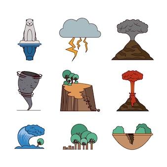 Klimawandel icons setzen