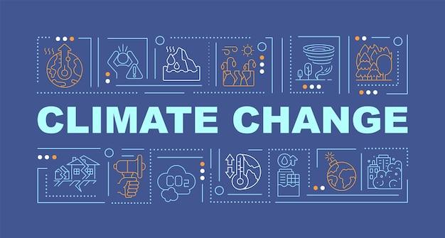 Klimawandel und natur zwingen wortkonzepte banner. erdbeben. infografiken mit linearen symbolen auf indigohintergrund. isolierte kreative typografie. vektorumriss-farbillustration mit text