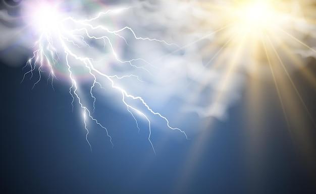 Klimazeichnung der sonne und blitze, die durch die wolken scheinen
