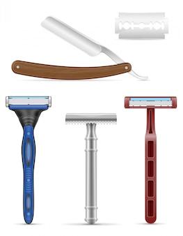 Klinge und rasiermesser für das rasieren der vektorillustration auf lager