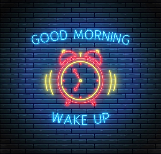 Klingelnder wecker im neonstil. guten morgen und wachkonzept. led-licht illustration.