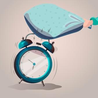 Klingelnder wecker. kissen schlägt einen klingelnden wecker. vektor-illustration. isoliertes objekt
