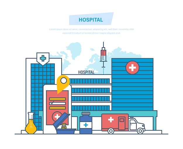 Klinik außen, medizinische architektur krankenhaus dünne linie.