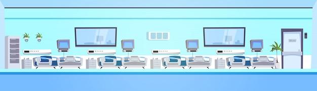 Klinik-raum-innenraum mit betten-horizontaler fahne