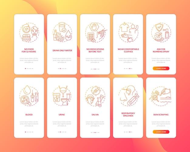 Klinische labortests onboarding mobile app seite bildschirmkonzepte festgelegt. krankheiten, zustandsdiagnose exemplarische vorgehensweise 5 schritte grafische anweisungen. ui-vorlage mit rgb-farbabbildungen