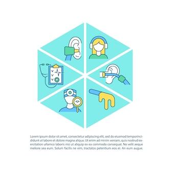 Klinische ohruntersuchungskonzeptliniensymbole mit text