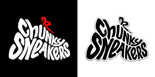 Klobige turnschuhe. beschriftung. lustiges kreatives symbol eines trendigen vaters hässliche schuhe. flexibler schwarzweiss-text in form von sportschuhen. urbaner graffiti-stil.