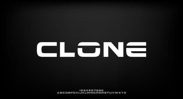 Klon, eine abstrakte futuristische alphabetschrift mit technologiethema. modernes minimalistisches typografie-design premium