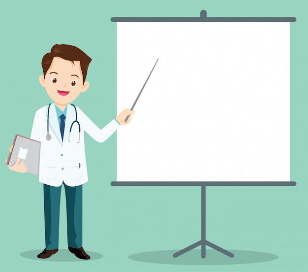 Kluger doktor, der mit projektor sich darstellt