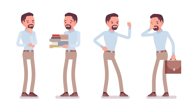 Kluger lässiger mann in negativen emotionen