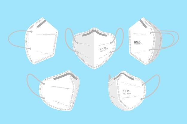 Kn95 gesichtsmaske aus verschiedenen perspektiven