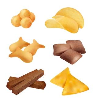 Knabberzeug. salzige sticks und kekse diätcracker unterstützen mini brot bio-lebensmittel realistische bilder. snack salzige, vorspeise cracker realistische illustration