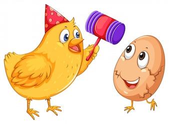 Knackendes Ei des Huhns mit Hammer