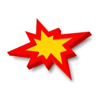 Knall explosionszeichen mit 3d-stil