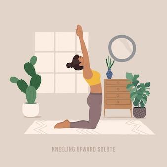 Kniende nach oben gelöste pose junge frau, die yoga-pose praktiziert