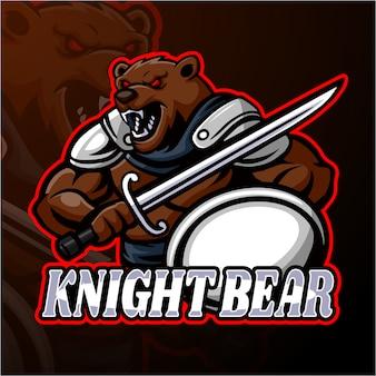 Knight bear esport logo maskottchen design