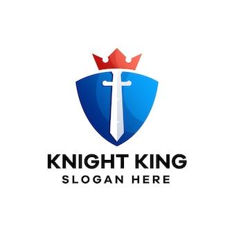 Knight king logo-design mit farbverlauf