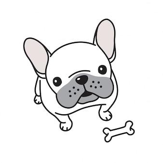 Knochen-karikatur der französischen bulldogge des hundevektors