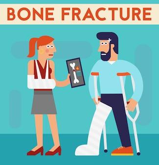 Knochenbruchvektorcharakter-karikaturillustration